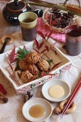 【中村かな先生レシピ】秋のいが栗肉団子・2種のアレンジ付けダレ